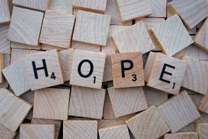 Hope in Scrabble letters
