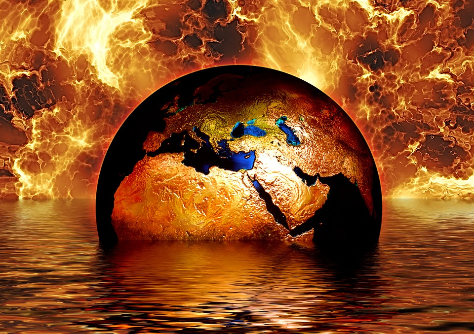 gold and blue earth globe apocalyptic