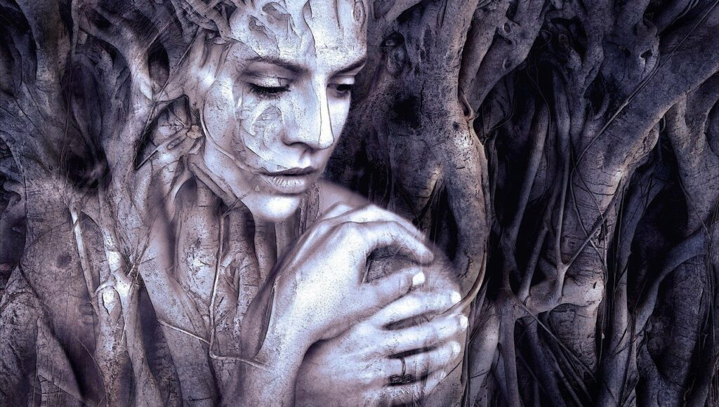 Forest woman's face among roots